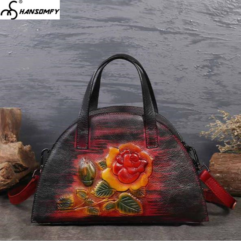 New Women Handbags First layer cowhide large capacity hand-painted flowers female retro leather diagonal shoulder Messenger Bags women new handbags retro genuine leather handbag shoulder bag head layer cowhide messenger bags female pure hand made bags