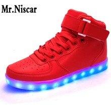 Mr. Niscar U Nisexผู้หญิงและผู้ชายUSBชาร์จสูงด้านบนส่องสว่างLEDรองเท้าแสง7สีกระพริบสบายๆสว่างขึ้นรองเท้าสำหรับผู้ใหญ่