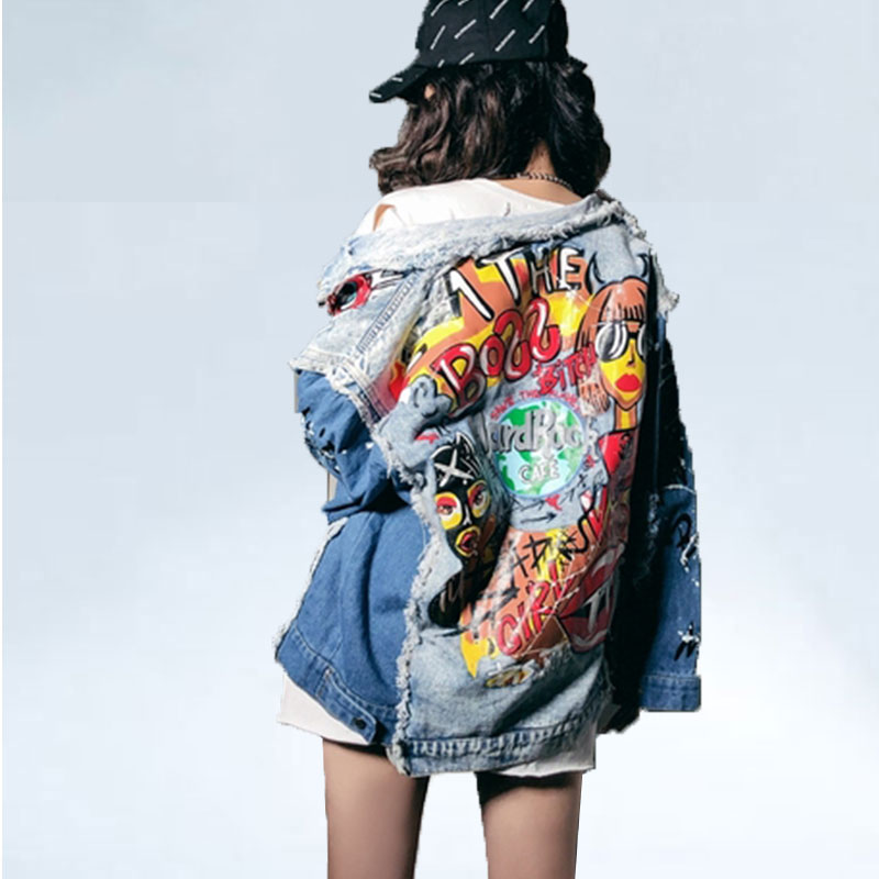 ladies Designer Cartoon denim jacket Graffiti loose denim jacket coat trench