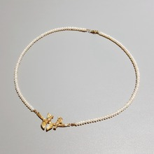 قلادة Lii Ji من لؤلؤ المياه العذبة على شكل طيور وأوراق شجر 925 من الفضة الإسترليني مطلية بالذهب عيار 18 قيراط مجوهرات حساسة هدية للسيدات
