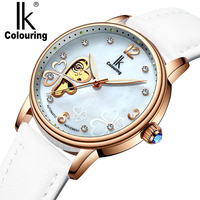 Automatic Skeleton Watch Women IK Colouring Luxury Rose Gold Case White Leather Wrist Watches for Woman Ladies Girls Wristwatch