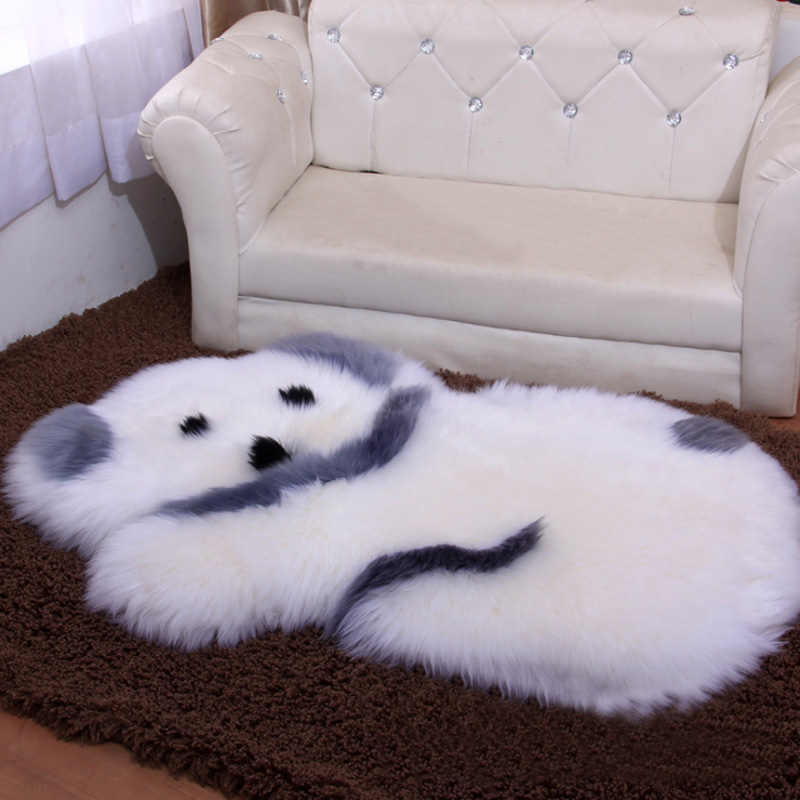 Black White Panda Bear Sheep Dog Faux Fur Sheepskin Wool Rug Mat Shaggy Fluffy Soft Cozy