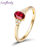 Modern Fashion 4x6mm Oval Natural Ruby Rings In 18K Yellow Gold For Women Wedding WU259E