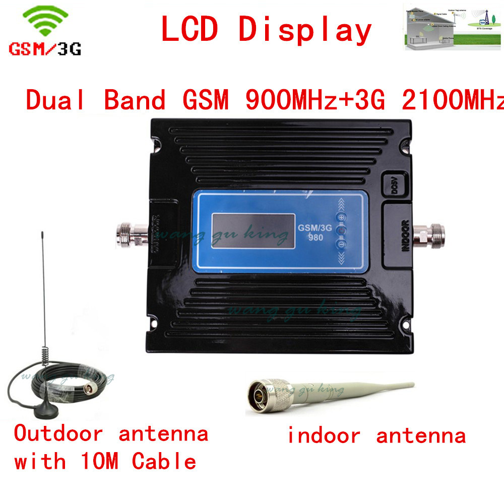 For Russia Newest 2G 3G LCD Signal Booster ! GSM 900 3G 2100 Mobile Phone Booster Amplifier 3G GSM Repeater + Antenna + Cable