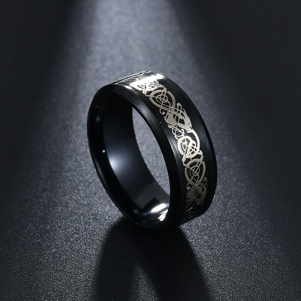 MeMolissa Jewelry New Punk ring for lover Vintage engagement Dragon steel Ring for Men & women Wedding rings 5