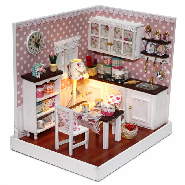 Novelty Miniature DIY Wood Doll House Kitchen Model Play Toys With Assembling Mini Furniture Movement Decor