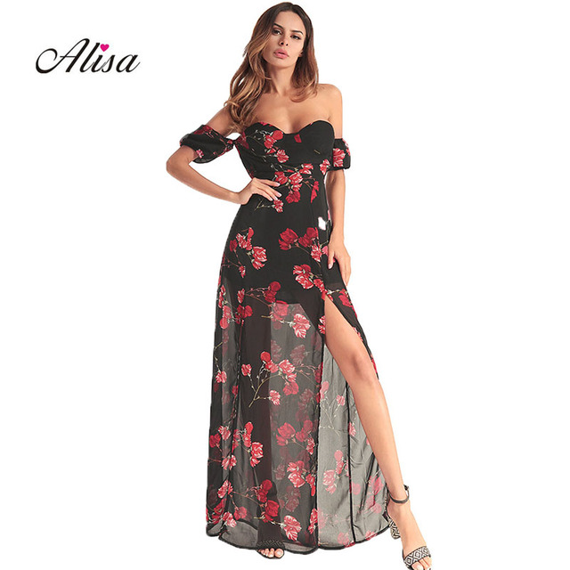 32c38349c3c4 Women Summer Strapless Maxi Dress 2018 Summer Sexy Long Robe Vestidos  Elegant Ladies Black Floral Print Party Chiffon Dresses