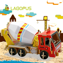 лучшая цена lagopus 3D Puzzle Game for Children Montessori Toys Educational Puzzle Vehicle Models Wooden Toys Jigsaw Gift for Kids