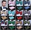 Polka Dot laço de Seda Tecido Jacquard Homens bow tie, casamento Borboleta Auto Bow Tie Bolso Praça Handkerchief BowTie Set Hanky Suit # D4