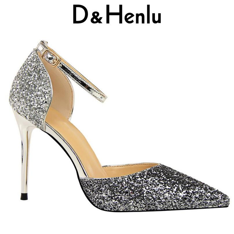 58fb49e32979 D Henlu Ankle Strap Wedding Shoes Women Sequin Heel Pointed Toe Gold Shoe  Wedding High Shoes Woman Silver Shoes For Women Pumps