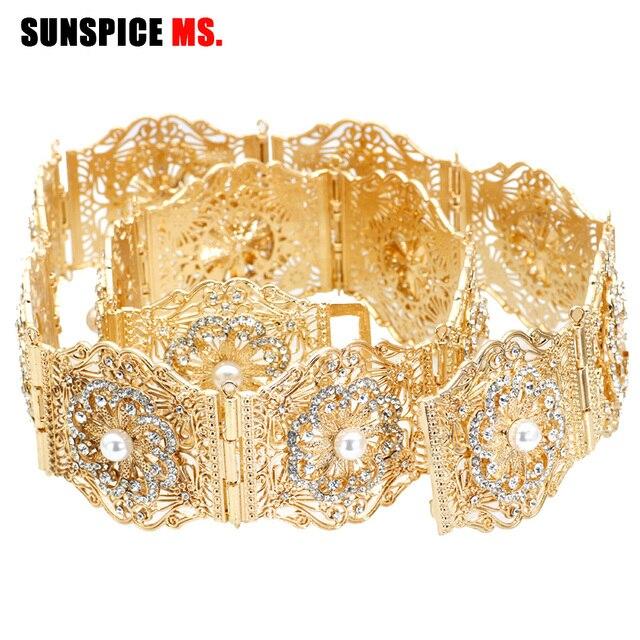 SUNSPICE MS ניגריה Fahion נשים חתונה שמלת חגורת המותניים שרשרת זהב כסף צבע מתכוונן אורך רחב מתכת אבזם תכשיטים