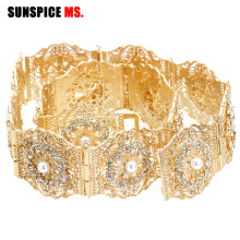 SUNSPICE MS Nigeria Fahion Women Wedding Dress Belt Waist Chain Gold Silver Color Adjustable Length Wide Metal Buckle Jewelry
