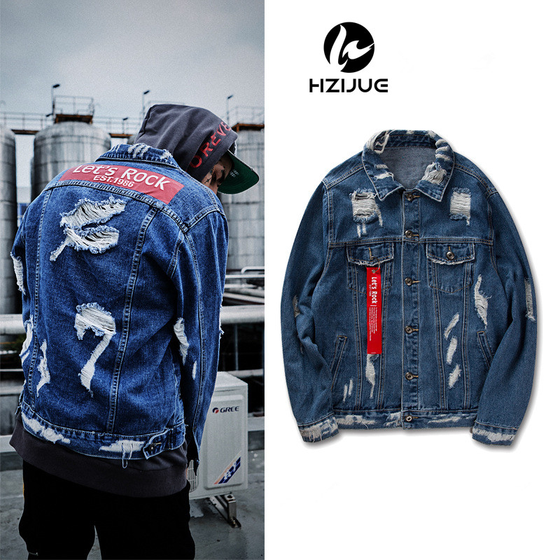 2017 Ribbon Ripped Denim Jacket Mens Vinage Distressed Destroyed Jeans Coat Hip Hop Casual Printed Hole Jackets Coats Blue M-XXL