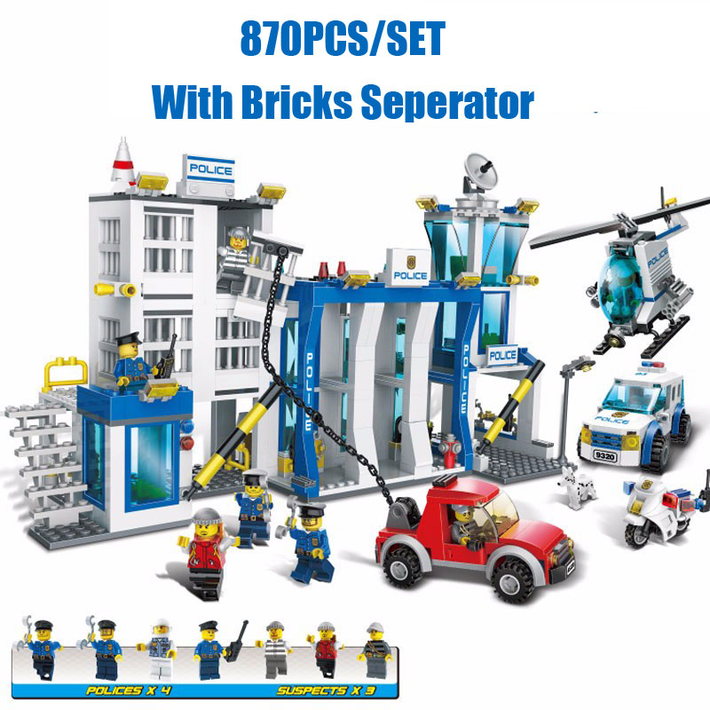 870PCS Urban City Police Station Headquarters Department Model Mini City Policeman Figures Building Blocks Brick Educational Toy