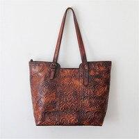 Nesitu Large Capacity High Quality Flower Pattern Vintage Genuine Leather Ladies Women Shoulder Bags Real Skin