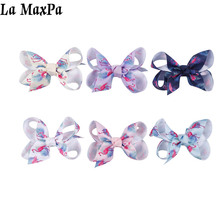 Flamingo Printed Cute Baby Headband Lovely Bowknot Ribbon Girl Hair Clips Newborn Accessories Bows for Girls
