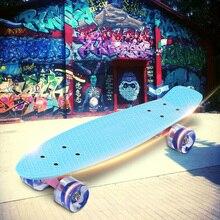 22 Inches Skateboard Banana Style Mini Cruiser Longboard Adult Child Fish Skateboard with LED Flashing Skate Wheels 5 Colors