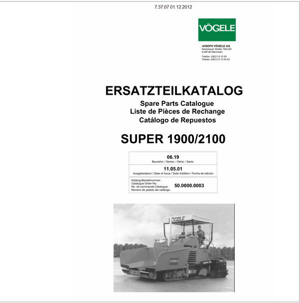 Vogele Electronic Spare Parts Catalog Service Manual Wiring Diagrams