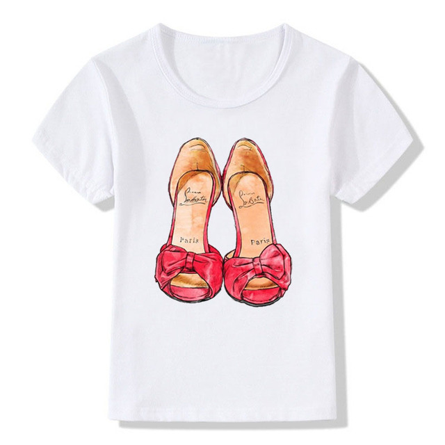 TEESCLUB White T-shirt 2018 New Red Shoe Print Girls T shirt Short Sleeve O-neck Summer Tops Kid Casual Children Tshirt