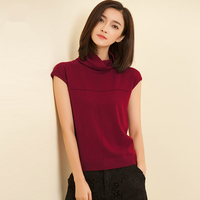Soft Elastic Wool Sweaters and Pullovers Heap Collar Short Sleeve Summer Women Cashmere Sweater Female Brand jumpers Pullover