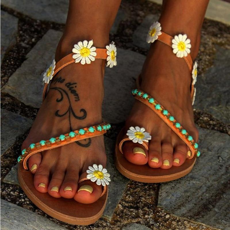 Summer Shoes Woman Gladiator Sandals Women Shoes Flat Fashion Weet Flowers Boho Beach Sandals Ladies Plus Summer Shoes Woman Gladiator Sandals Women Shoes Flat Fashion Weet Flowers Boho Beach Sandals Ladies Plus Size 44
