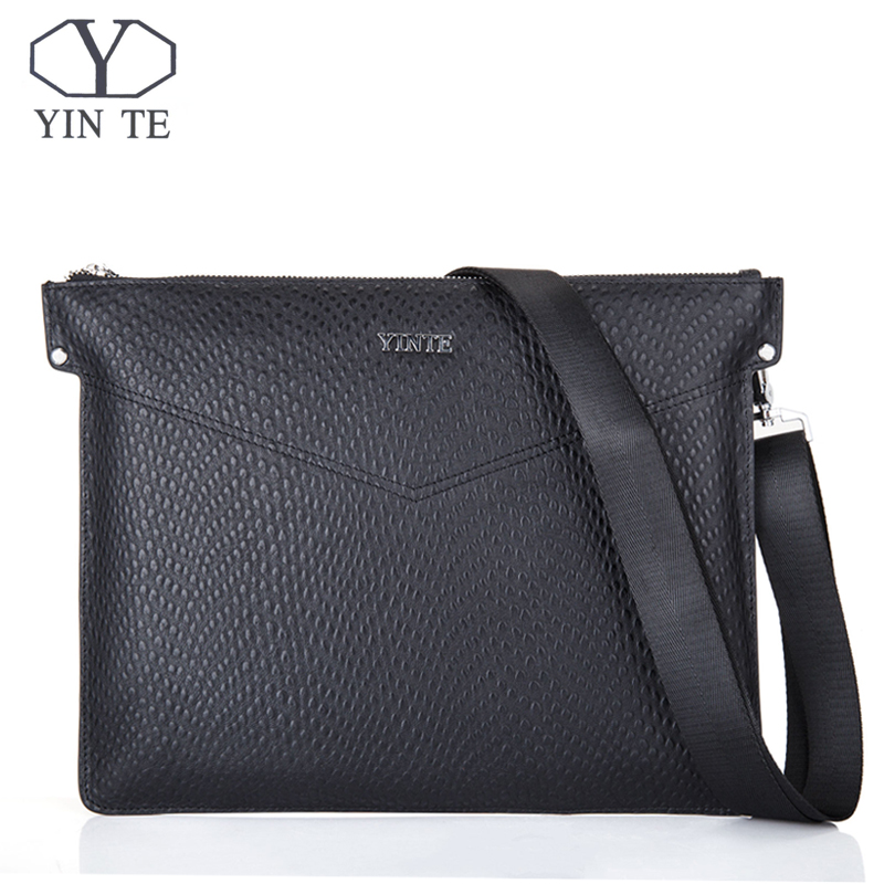 YINTE Fashion Cowhide Man Messenger Bags Genuine Leather Male Cross Body Bag Casual Men Commercial Briefcase Clutch Bag T8599-4 manbang new fashion genuine leather man messenger bags cowhide leather male cross body bag casual men commercial briefcase bag