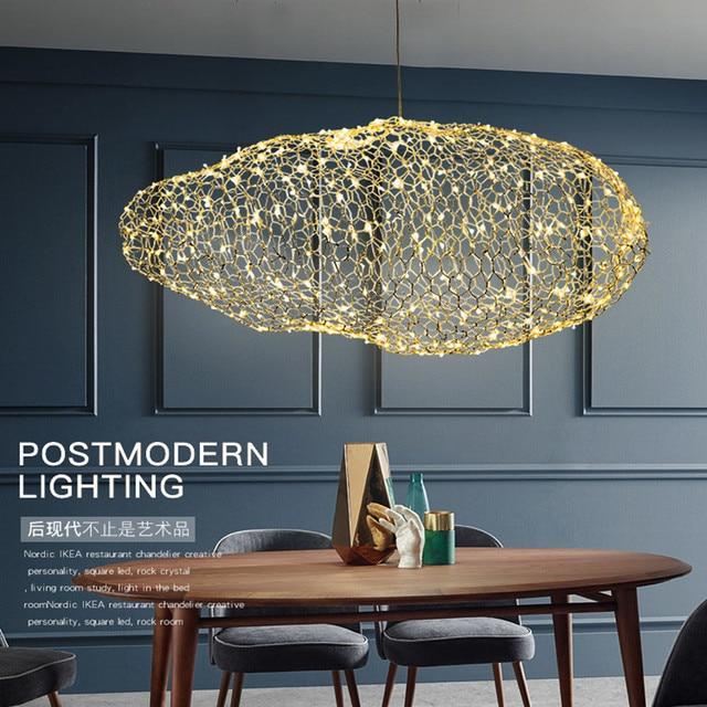 Nordic Art Hollow Cloud Design Pendant Lights Creative Bedroom Hotel Hall Restaurant Bar Designer Firefly Led Lighting Fixtures