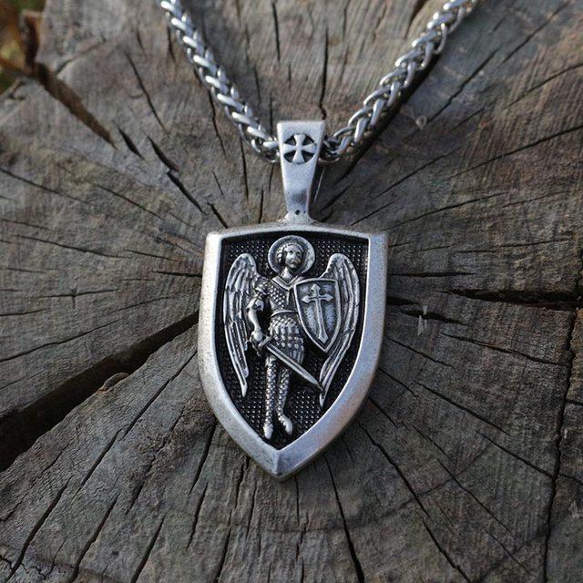 Lanseis 1pcs men necklace archangel stmichael protect us saint lanseis 1pcs men necklace archangel stmichael protect us saint shield protection charm russian orhodox aloadofball Gallery