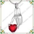 CMJ9231 Hold Cristal Rojo Collar de Colgantes de La Joyería de Acero Inoxidable 316L Cremación Recuerdo Memorial Cenizas