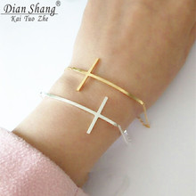 DIANSHANGKAITUOZHE 10pcs Ginger Snaps Jewelry Stainless Steel Cross Kors Bracelet Gold Hand Chain For Women Hand Accessories