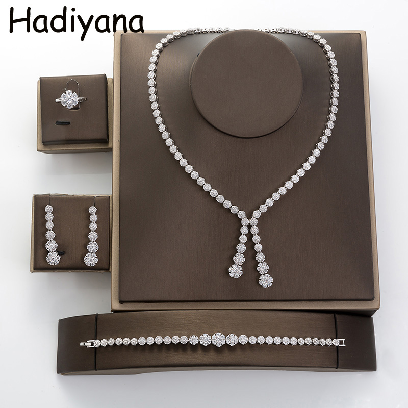 Hadiyana Simple Round Women Jewelry Set With Cubic Zincons Necklace Earrings Bracelet Ring 4pcs Bridesmaid Wedding