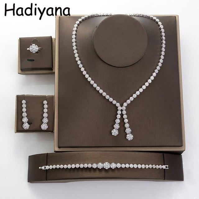 Hadiyana פשוט עגול נשים תכשיטי סט עם מעוקב Zincons שרשרת עגילי צמיד טבעת 4pcs שושבינה חתונה סטי TZ8032