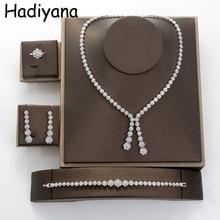 Hadiyana prosty okrągły zestaw biżuterii damskiej z Cubic Zincons naszyjnik kolczyki bransoletka pierścień 4 sztuk zestawy ślubne druhna TZ8032