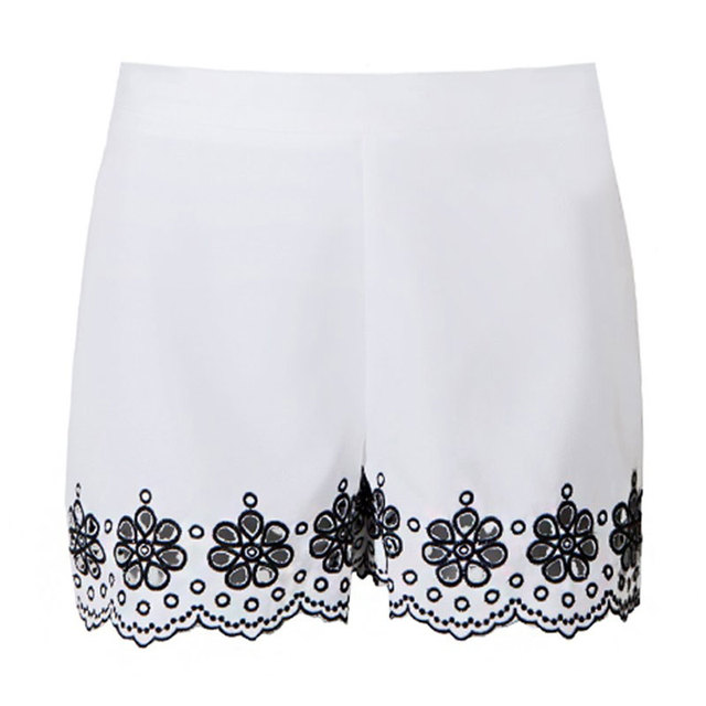 High Waist Floral Embroidery Shorts Street Style