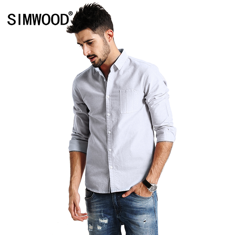 SIMWOOD 2017 New Autumn Casual Shirts Men Long Sleeve 100 Pure Cotton Slim Fit Plus Size