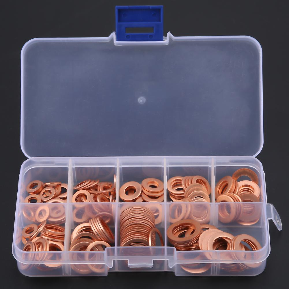 200Pcs M5/M6/M8/M10/M12/M14 Copper Flat Washers Gaskets Flat Ring O-ring Washers Oil Seal Fittings Seal Assortment Kit Fasteners