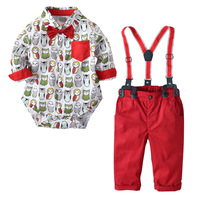 2018 New Fashion Owl Printing Long Sleeve Rompers Red Strap Pants Christmas Clothes Suit Sets Gentleman Kids Baby Boy Clothing