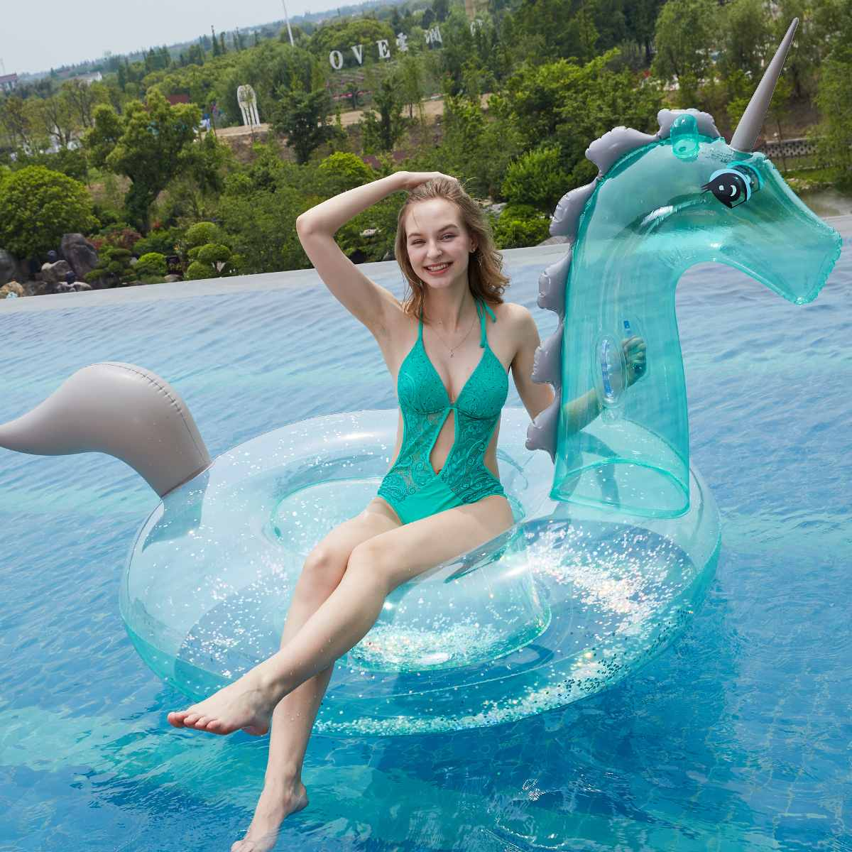 Giant Inflatable 240cm Unicorns Pool Floats Tube Raft Swimming Ring Circle Water Bed Boia Piscina Adults Party ToysGiant Inflatable 240cm Unicorns Pool Floats Tube Raft Swimming Ring Circle Water Bed Boia Piscina Adults Party Toys