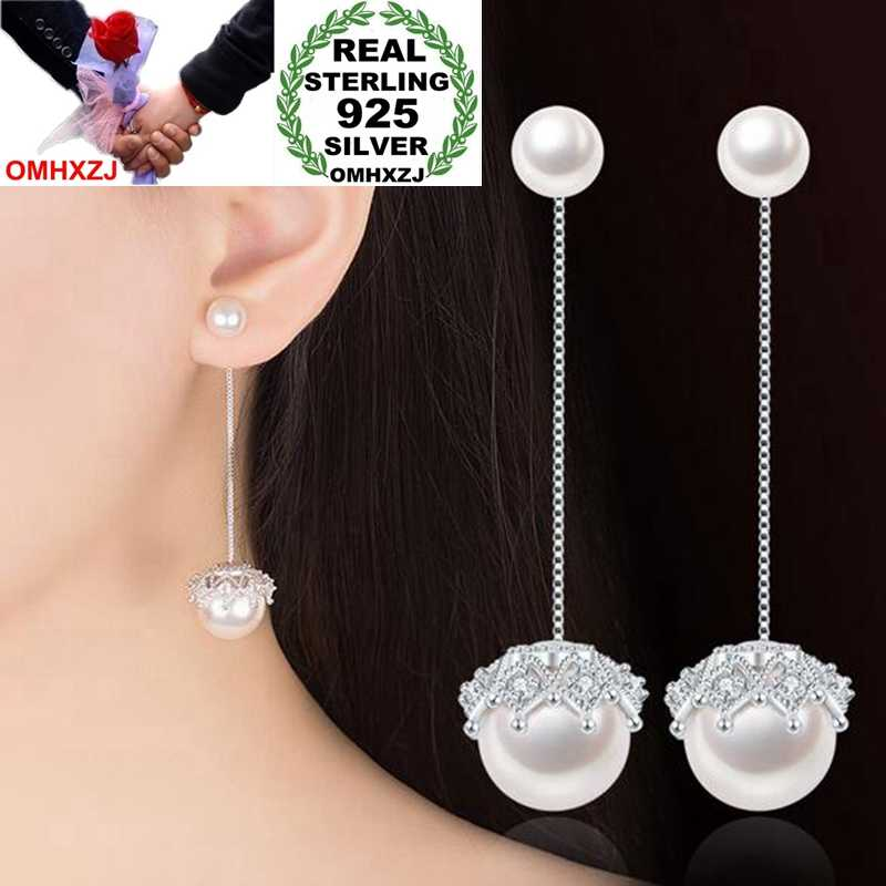OMHXZJ Wholesale Sweet Elegant Fashion Woman Wedding Gift Detachable Lace Pearl 925 Sterling Silver Tassel Stud Earrings YS285