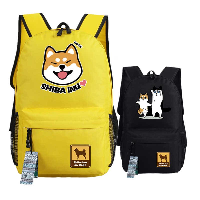 152e5da2e9d3 Shiba Inu Kawaii Doge Emoji Printing Women Backpack Funny Smile Face Canvas  School Bags Mochila Feminina