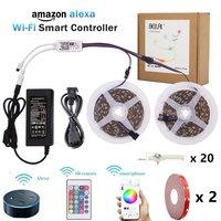 5050 RGB LED Strip Waterdicht WIFI RGBW RGBWW DC 12 V LED licht Strip kit Flexibele Neon Tape Met Afstandsbediening en Power