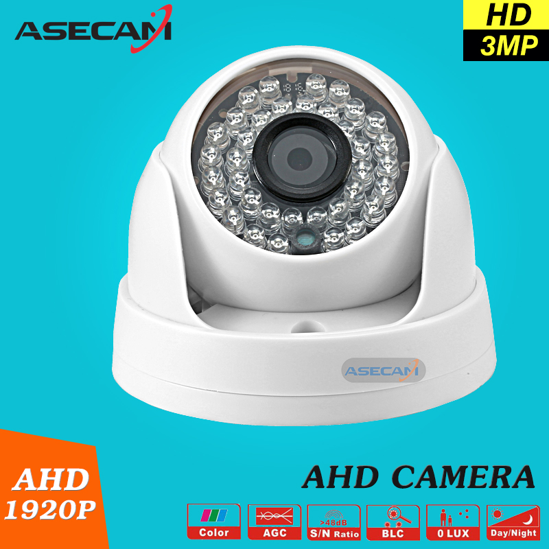 New Home Super 3MP HD AHD 1920P Camera Security CCTV White Mini Dome 36LED infrared Night Vision Surveillance Camera System new home 2mp hd ahd 1080p camera security cctv white dome 2pcs array infrared night vision surveillance camera ahd h system