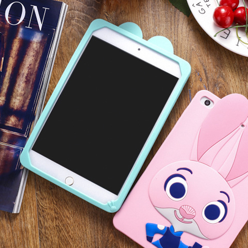 Tablet Case For ipad 2017 9.7 inch Cute Cartoon Rabbit Kids Shockproof Silicone Rubber Stand Back Cover For ipad 2018 Case  (12)