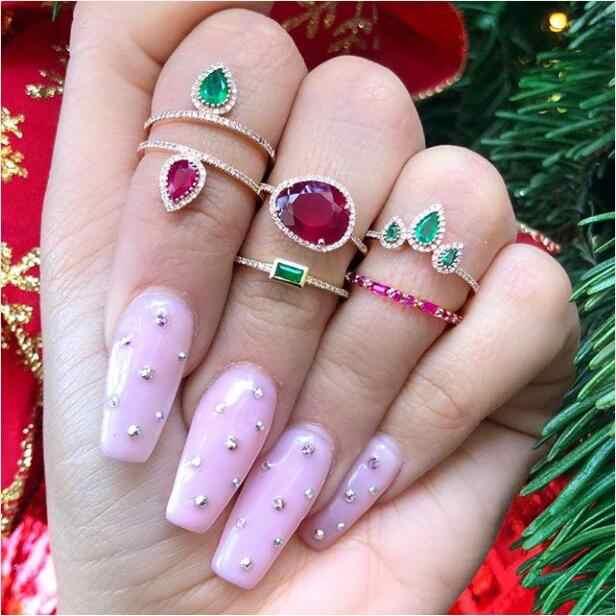 Birthstone tear drop pierścień cz dla kobiet różne kolory cz dziewczyna kobiety prezent kolor srebrny biżuteria