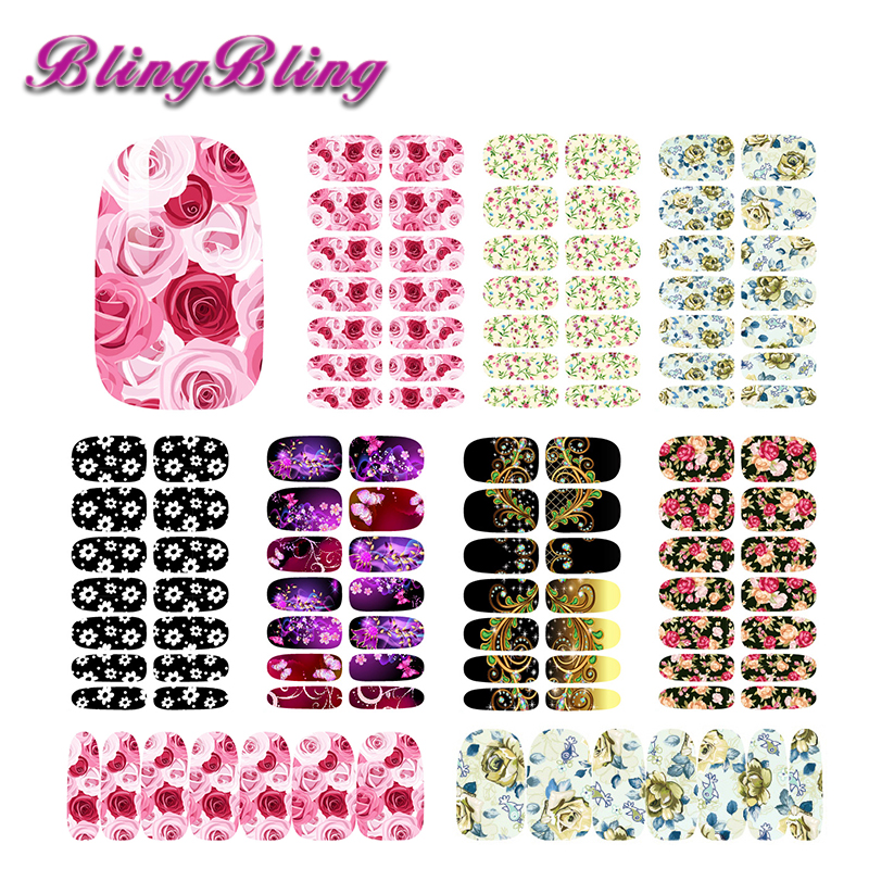 2 sheet Nail Art Stickers Water Decals Red Rose Fantasy Purple Floral Design Nail Wraps Manicure Accessories For Nails free shipping new 2017 hot 13 single pure color series classic collection manicure nail polish strips nail wraps full nail sheet