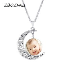 Handmade Personality Photo Family Half moon necklace Photo Baby Child Dad Mom Brother Sister Dad Mom Photo Private Custom(China)