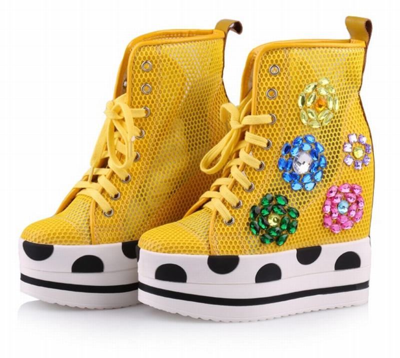 Hauteur rose green Up forme Respirant D'été Ultra Ascenseur Croissante Haute Plate A White Chaussures blue yellow Cheville Bead Mesh B Lace Casual black yellow black String Compensées Femmes Boot Mode qnBgWXwYxY