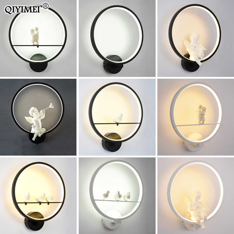Modern Wall Lamps  art angel Nordic creative for living room bedroom bedside lighting bracket High-power led lustre Home Dero