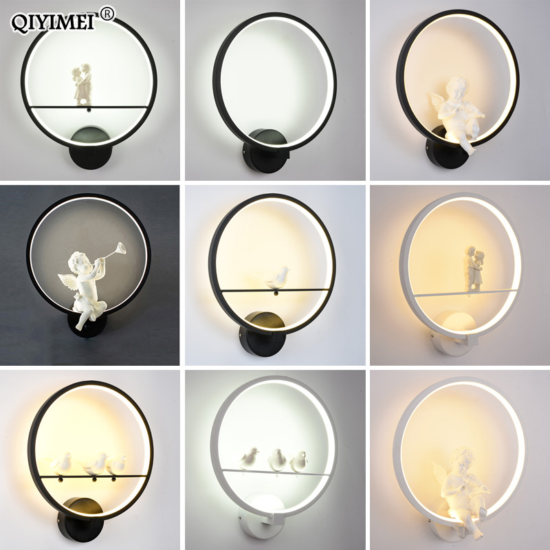 현대 벽 램프 아트 천사 북유럽 크리 에이 티브 거실 침실 머리맡 조명 브래킷 고전력 led 광택 홈 dero