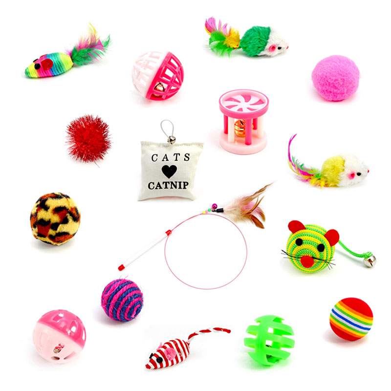 16ppc/set Toys Variety Pack Cats Funny Mouse Catnip Sisal Balls Gift Value Feather Sets For Small Cat Pet Supplies Toy Set